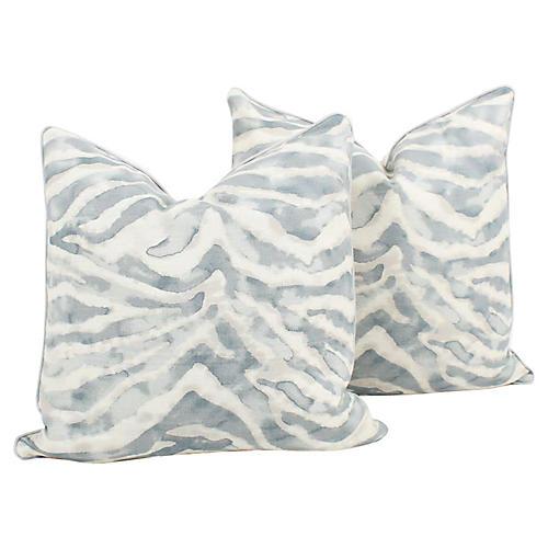 Sky Blue Zebra Nairobi Pillows, Pair