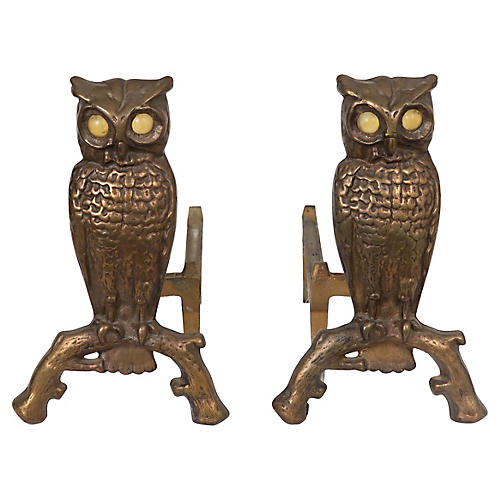 Antique English Brass Owl Andirons, Pair