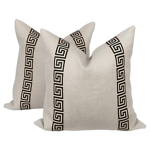 Black & Cream Greek Key Pillows, Pair