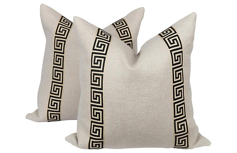 Black & Cream Greek Key Pillows, Pair