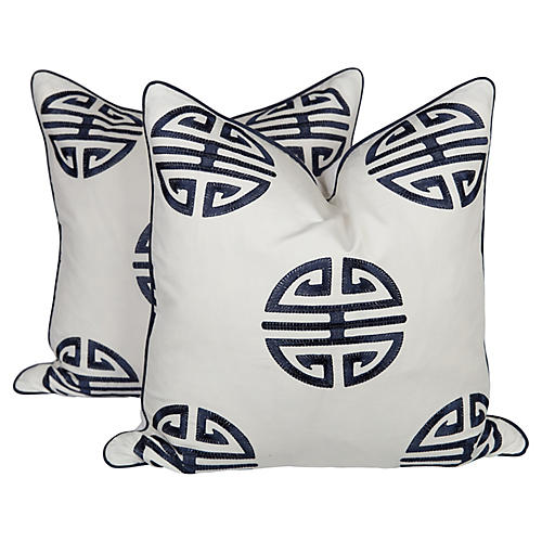 Chinoiserie Emblem Embroidered Pillows