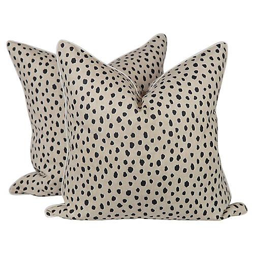 Linen Spotted Tanzania Pillows, Pair