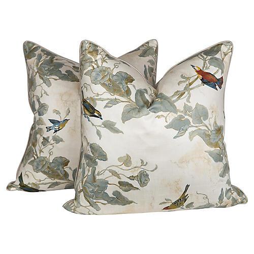 Chinoiserie Sateen Bird Pillows, Pr