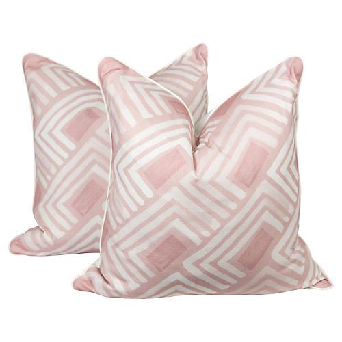 Blush Abstract Linen-Blend Pillows, Pr