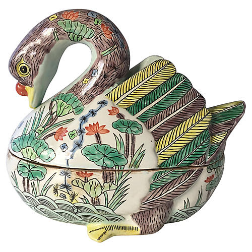1960s Ceramic Chinese Duck Centerpiece