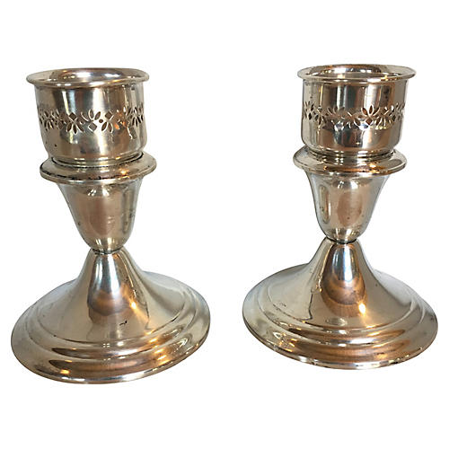 Gorham Silver Candleholders, S/2