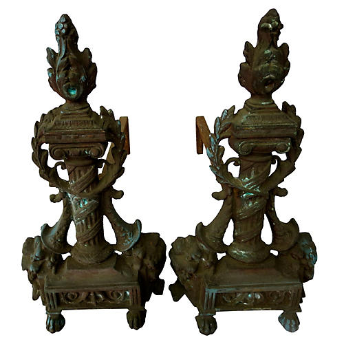 French Bronze Torch Andirons