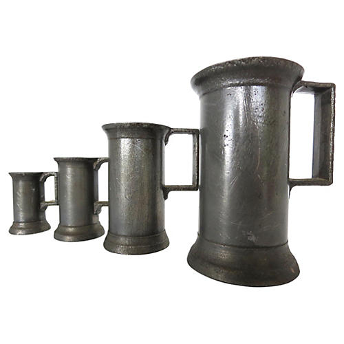 Antique Pewter Tavern Measures, S/4