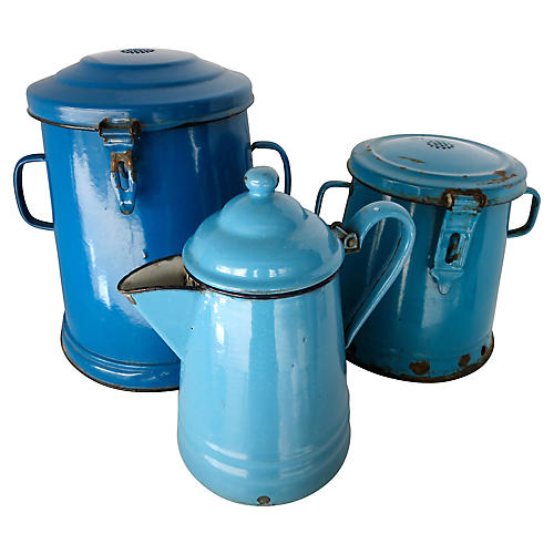 French Enamelware Canisters, S/3
