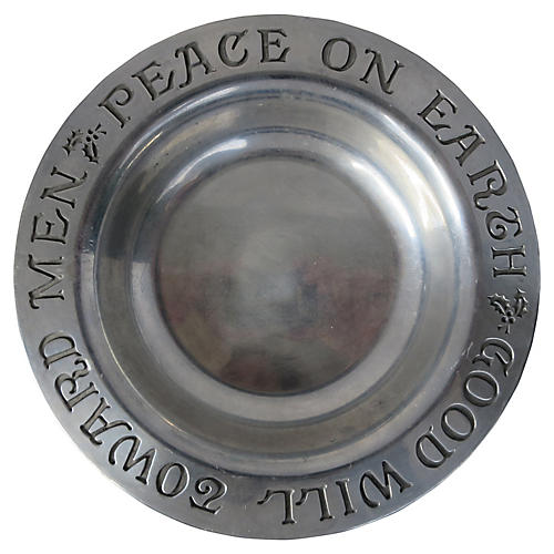 Pewter Peace on Earth Catchall Plate