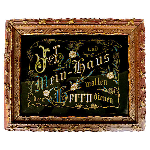 19th-C. German Etched Glass Sign