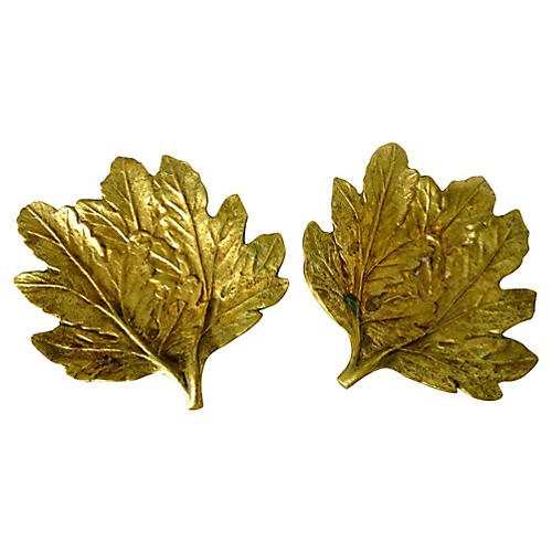 Brass Leaf Plates, Pair