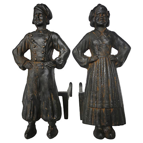 Dutch Boy & Girl Andirons, S/2