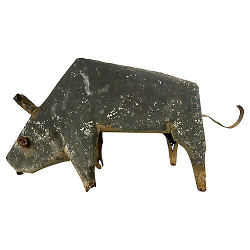 Primitive Metal Bull Sculpture