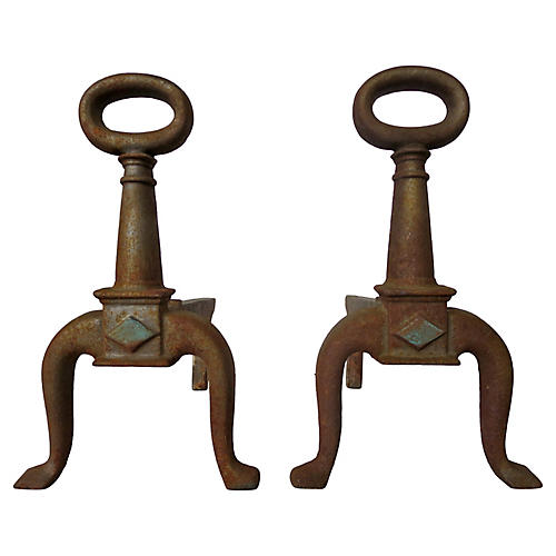 French Iron Andirons