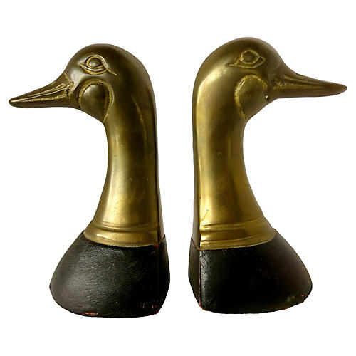 1960 Brass & Leather Duck Bookends