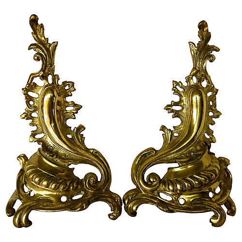 French Rococo Brass Andirons