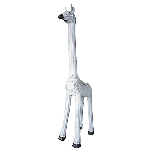 "Mid-Century 61"" Wicker Giraffe Planter"