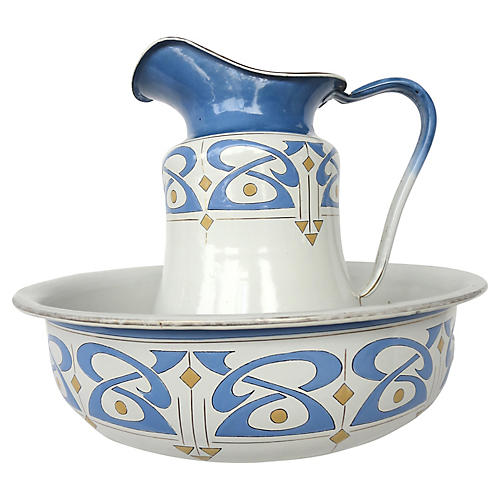 French Tole Pitcher & Basin