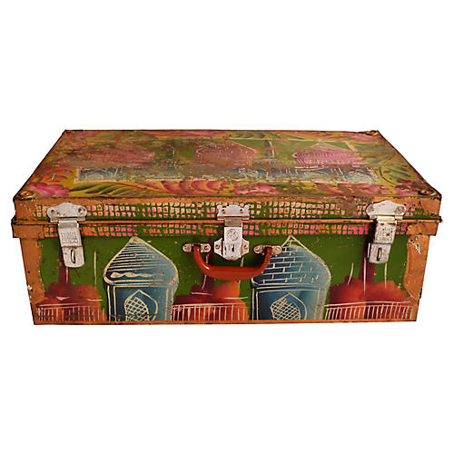 Indian Hand-Painted Steel Trunk