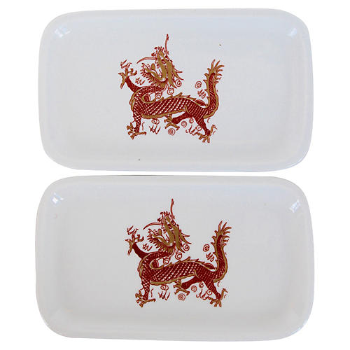 Painted Porcelain Dragon Trays, Pair