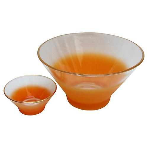 Orange Ombré Blendo Bowls, Pair