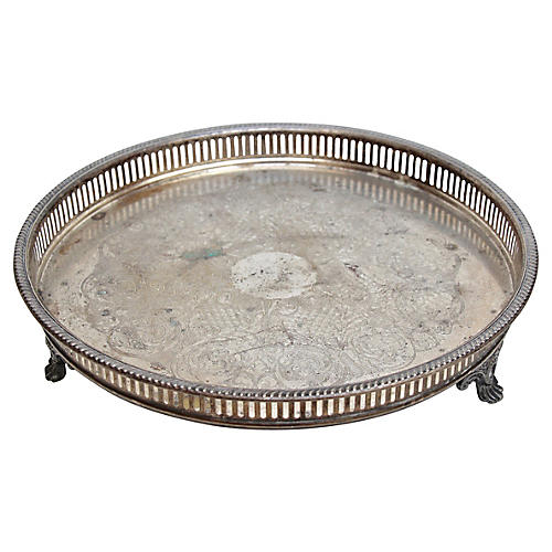 Silver-Plate Footed Gallery Tray