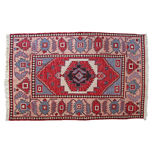 Hand-Knotted Kilim Rug, 5'11″ x 8'6""