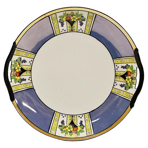 Noritake Blue Luster Handled Cake Plate
