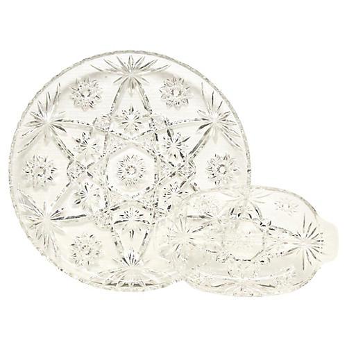 Glass Starburst Platter & Divided Dish