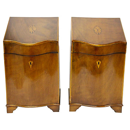 English Inlaid Cutlery Boxes, Pair