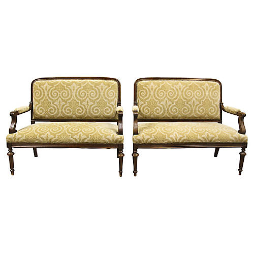 Antique French Settee Benches, Pair