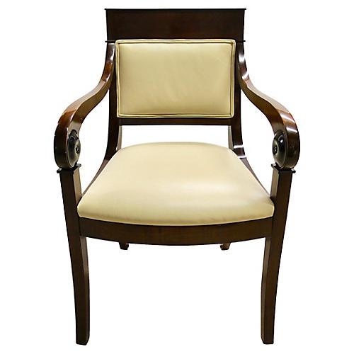 Regency-Style Scroll Armchair