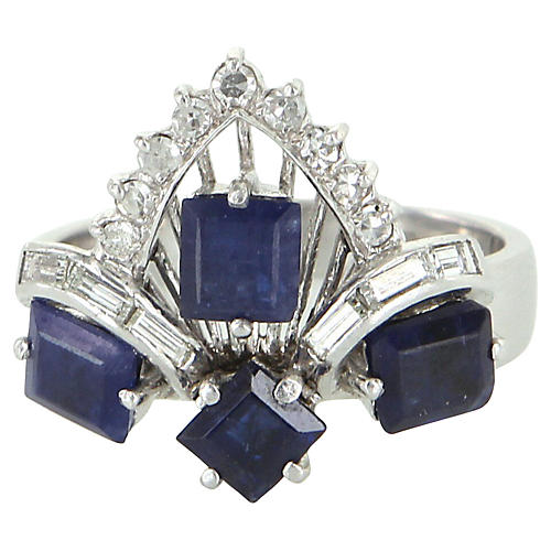 Kyanite & Diamond Tiara Cocktail Ring
