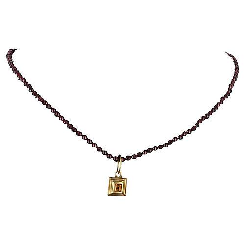 Rubellite Tourmaline Citrine Necklace