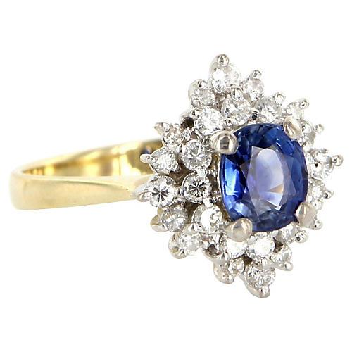 14K Gold, Sapphire & Diamond Ring