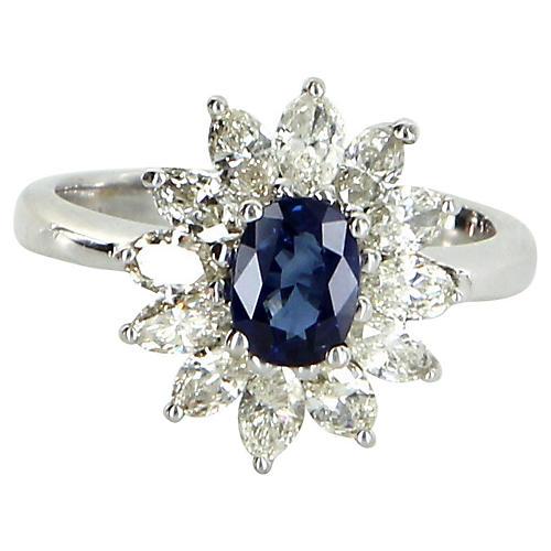 Sapphire Diamond Princess Ring