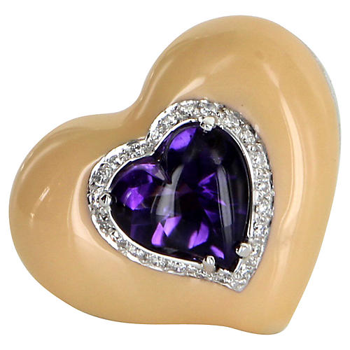 Amethyst Enamel Diamond Heart Ring