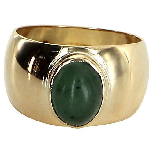 French Hallmarked Aventurine Quartz Ring