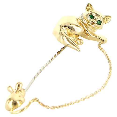 18K Gold Cat & Mouse Brooch