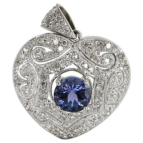 Tanzanite & Diamond Heart Pendant