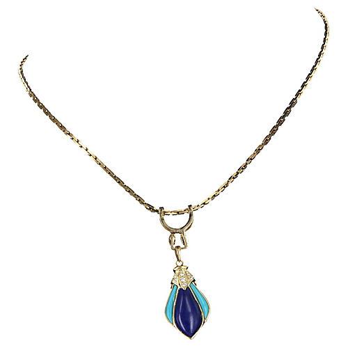 Lapis, Turquoise & Diamond Necklace