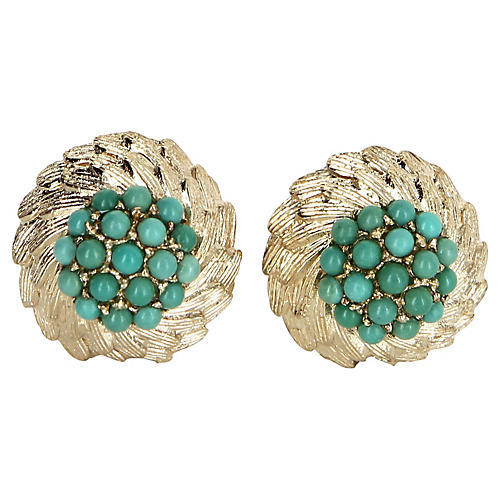 14k Gold & Turquoise Cluster Earrings