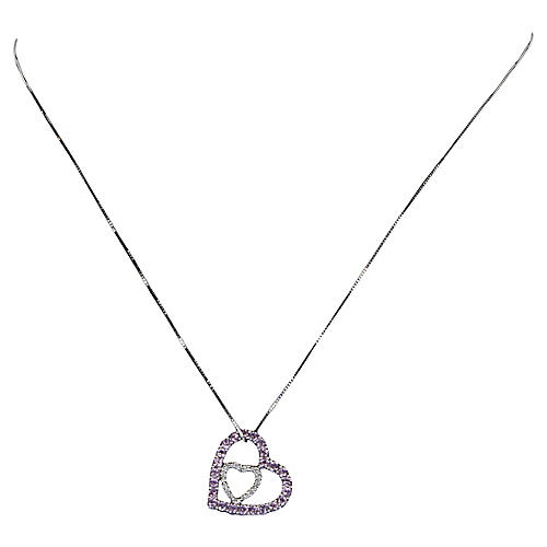 Double Heart Necklace Pink Topaz Diamond