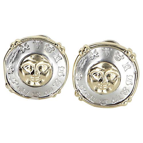Moon Star Zodiac Earrings 14k Gold