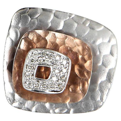 Square Diamond Cocktail Ring 14k