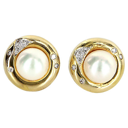 Cultured Pearl Diamond Stud Earrings