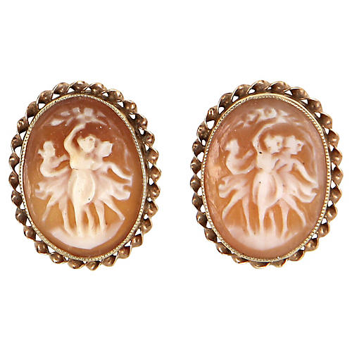 The Three Graces Cameo Earrings 10k