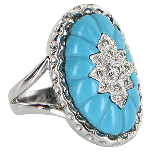Fluted Turquoise & Diamond Oval Ring