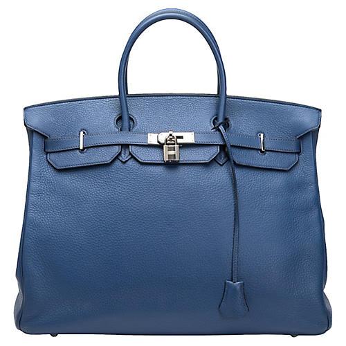 Hermès Clemence Blue Colvert 40cm Birkin